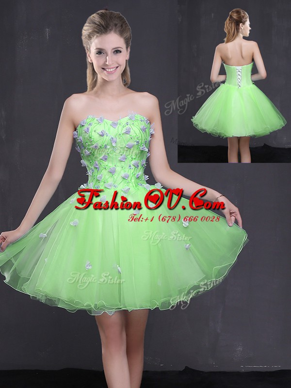 New Style Sleeveless Mini Length Appliques Lace Up Prom Evening Gown with