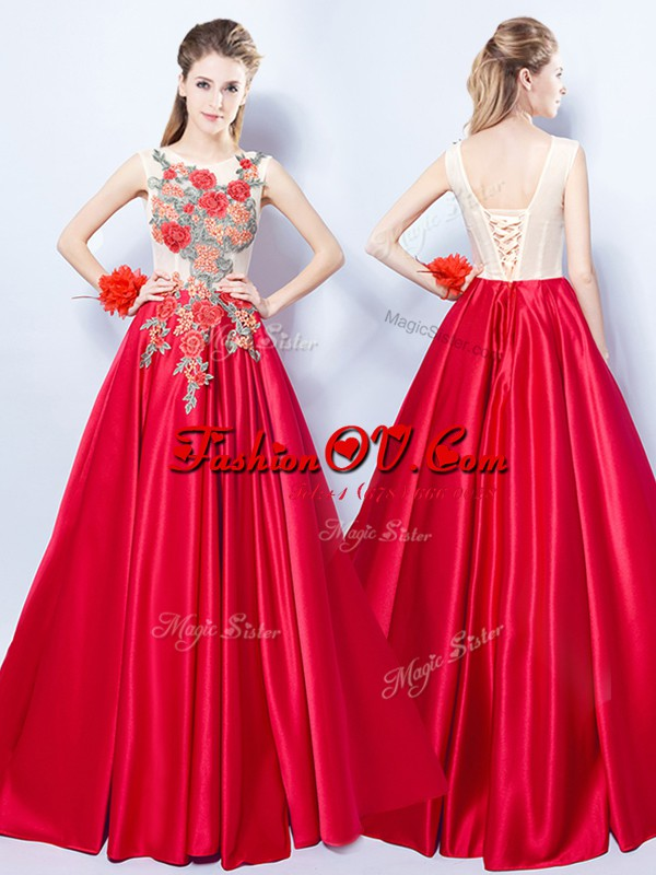 Sumptuous Scoop Appliques Evening Wear Red Lace Up Sleeveless Floor Length