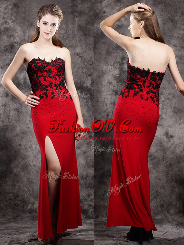 Fantastic Sweetheart Sleeveless Evening Dress Ankle Length Beading and Appliques Red Elastic Woven Satin