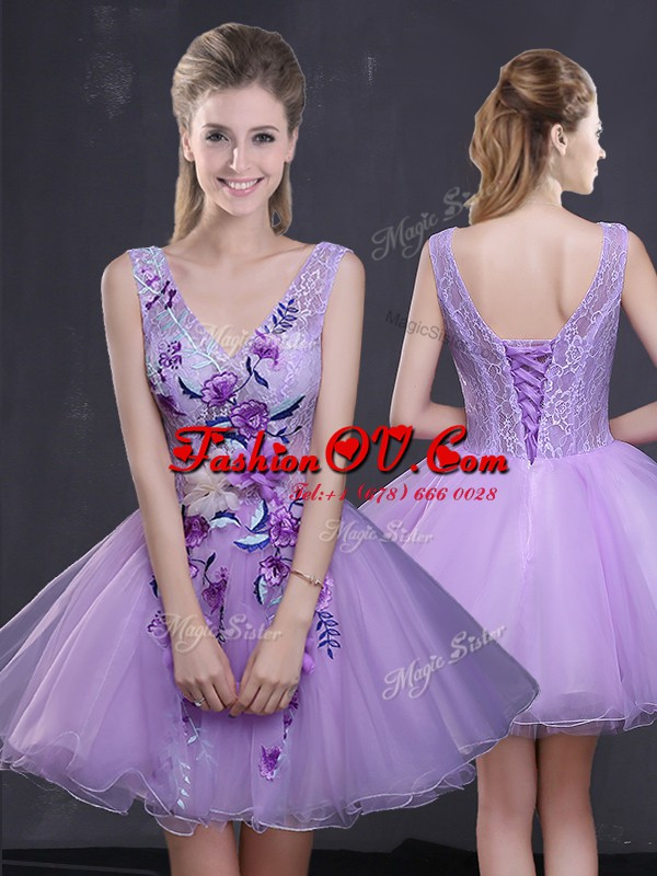 Simple Mini Length Lavender Dress for Prom Sleeveless Lace Up