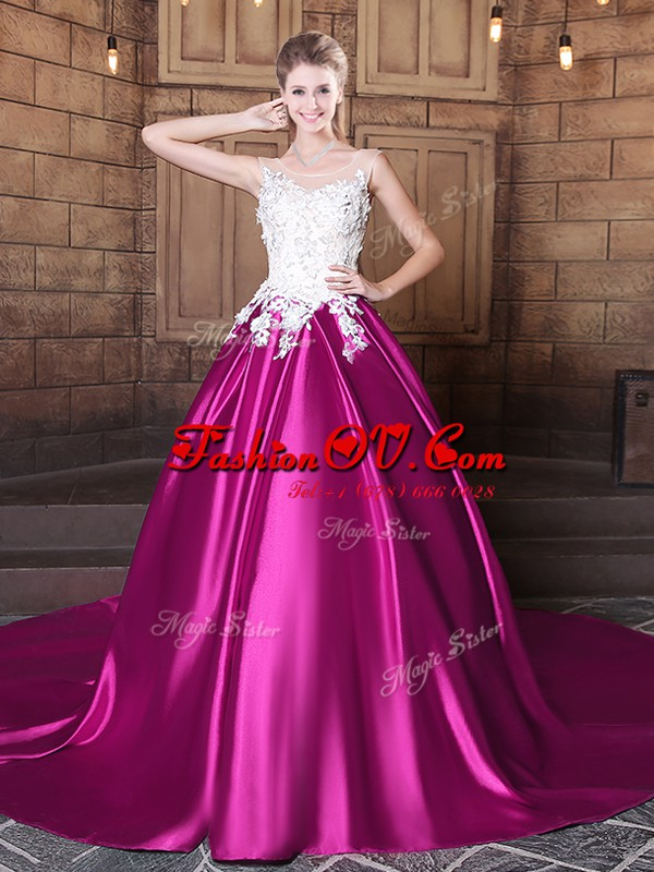 Top Selling Scoop Appliques 15 Quinceanera Dress Fuchsia Lace Up Sleeveless With Train Court Train
