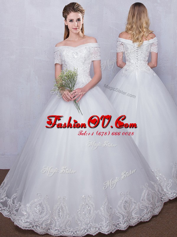 Glamorous Off the Shoulder Floor Length Ball Gowns Short Sleeves White Wedding Dresses Lace Up