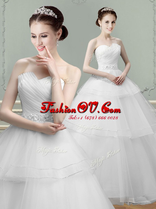 White Tulle Lace Up Bridal Gown Sleeveless Floor Length Beading and Ruching