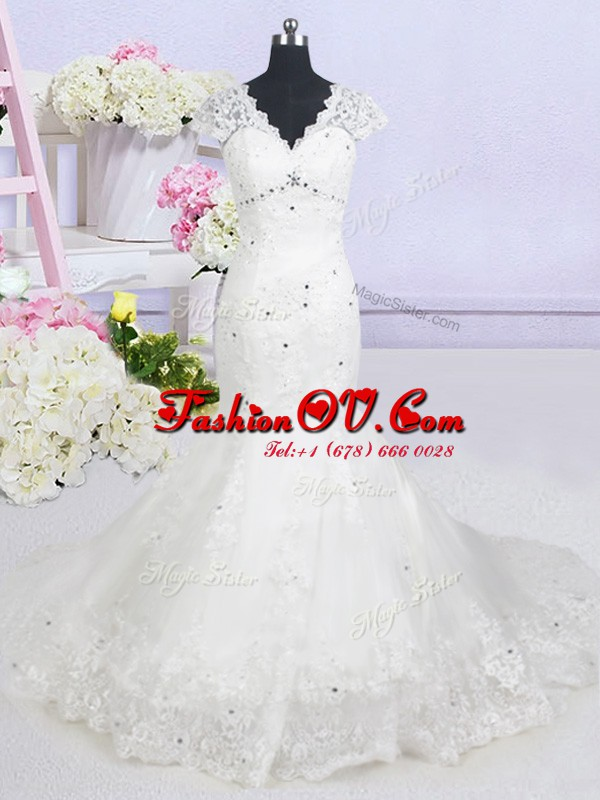 Spectacular Mermaid White Tulle Lace Up V-neck Cap Sleeves With Train Wedding Dresses Brush Train Beading and Lace