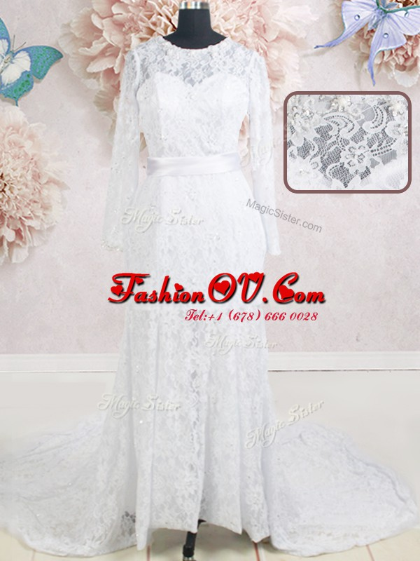 Romantic Scoop Lace Beading and Belt Wedding Gown White Zipper Long Sleeves With Brush Train