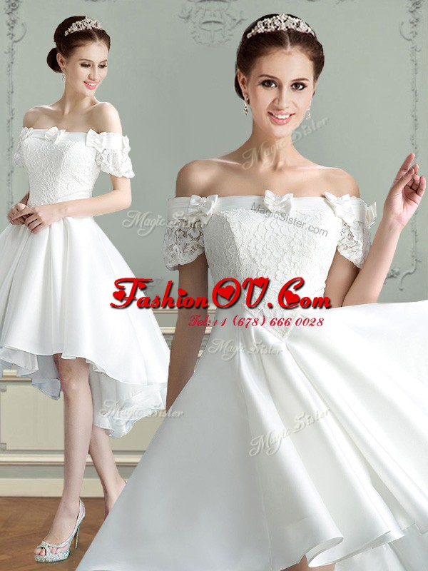 Off the Shoulder White Lace Up Wedding Gown Lace and Bowknot Sleeveless High Low