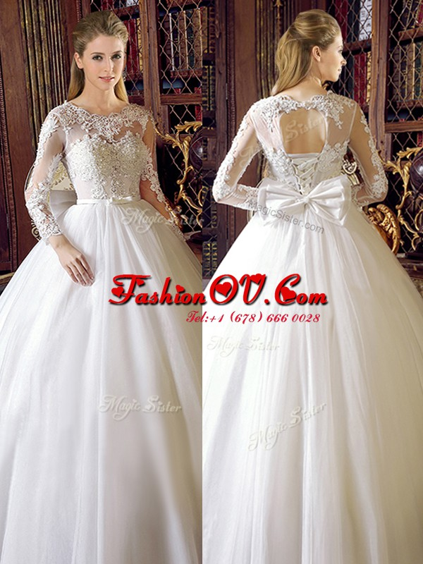 Gorgeous Scoop Floor Length Ball Gowns Long Sleeves White Wedding Dress Lace Up