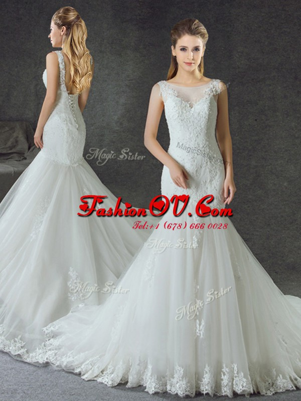 Custom Design White Mermaid Scoop Sleeveless Tulle With Train Court Train Lace Up Lace and Appliques Bridal Gown