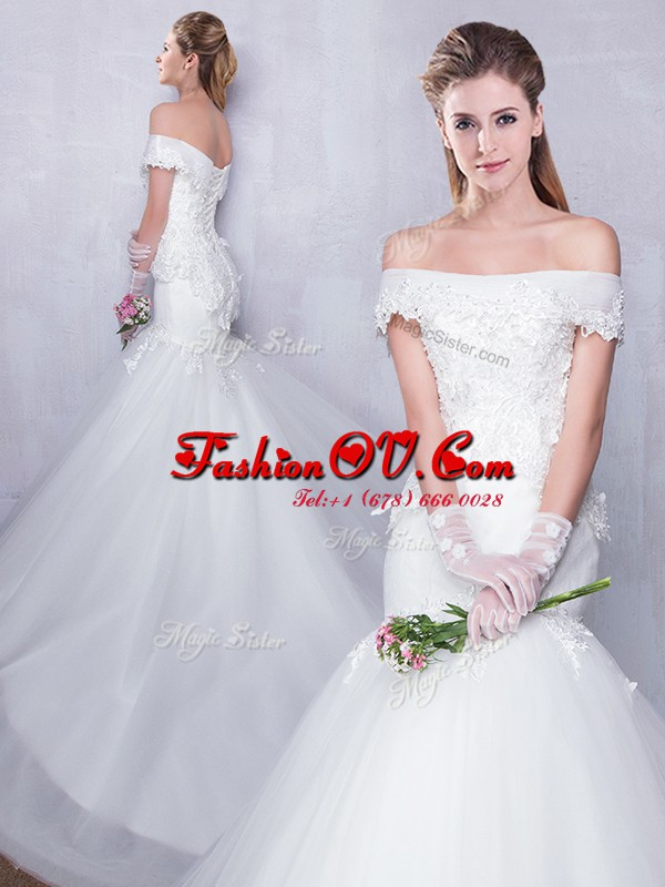 Mermaid Off the Shoulder White Tulle Lace Up Wedding Dress Sleeveless With Train Court Train Lace and Hand Made Flower