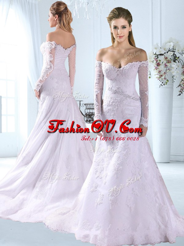 Lovely White Wedding Gown Wedding Party and For with Appliques Off The Shoulder Long Sleeves Brush Train Zipper