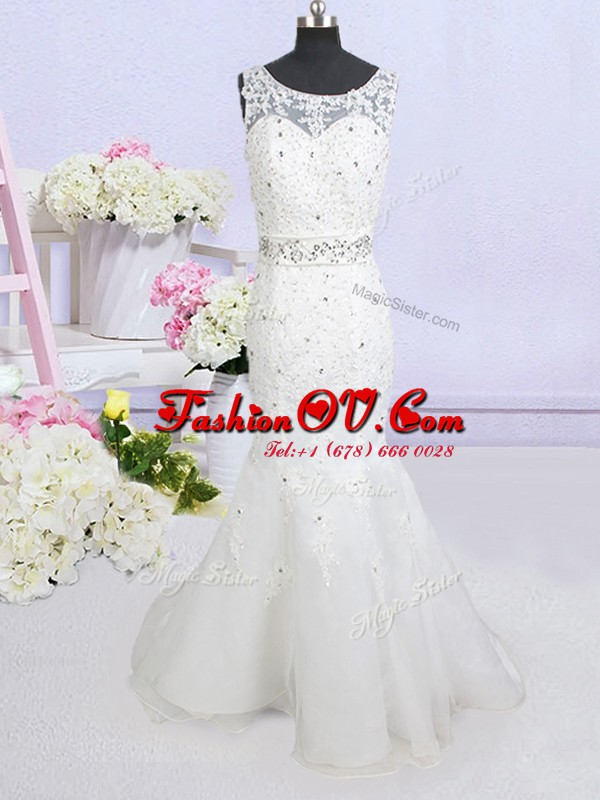 Latest Mermaid Scoop White Backless Wedding Dress Beading and Lace and Appliques and Bowknot Sleeveless Brush Train