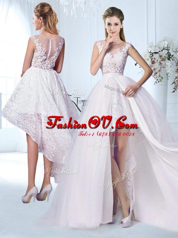 See Through White Wedding Gown Wedding Party and For with Lace and Appliques Scoop Cap Sleeves Zipper