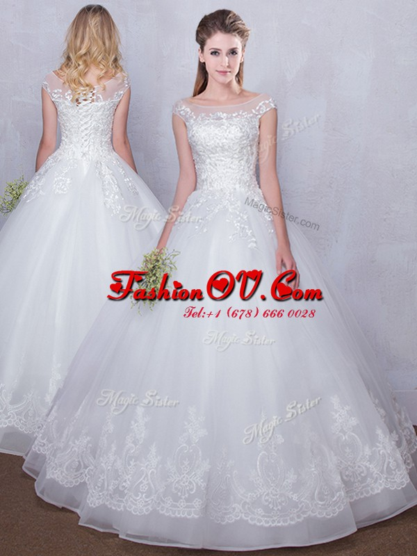 Wonderful Scoop White Cap Sleeves Floor Length Lace Lace Up Bridal Gown
