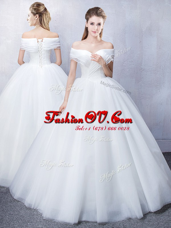 Ruffled White Off The Shoulder Lace Up Ruching Bridal Gown Short Sleeves