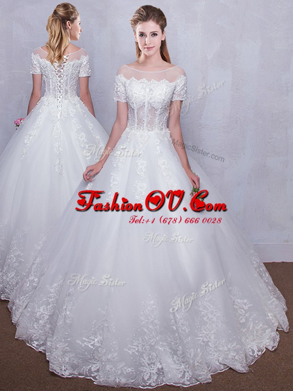 Custom Made Scoop See Through Floor Length Ball Gowns Short Sleeves White Wedding Dress Lace Up