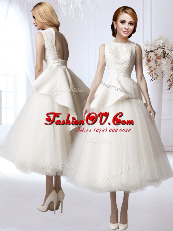 Shining Appliques Wedding Gowns White Backless Sleeveless Tea Length