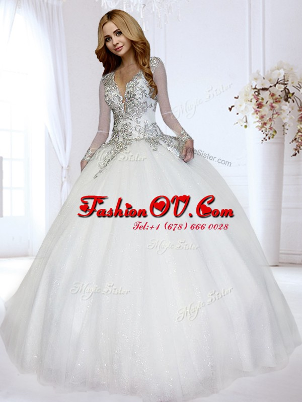 White Backless Wedding Gown Beading Long Sleeves Floor Length