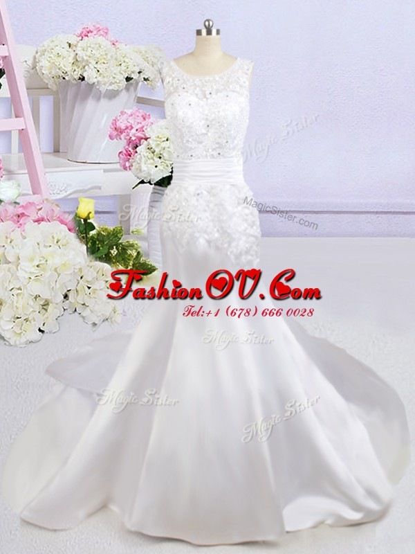 Mermaid Scoop Backless Wedding Gowns White for Wedding Party with Beading and Lace and Appliques Court Train