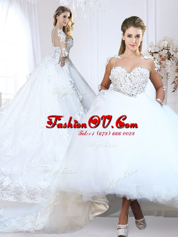 Spectacular White Long Sleeves Chapel Train Lace and Appliques With Train Wedding Dresses
