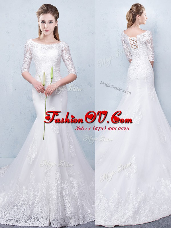 Mermaid White Scoop Lace Up Lace Wedding Dresses Court Train Half Sleeves