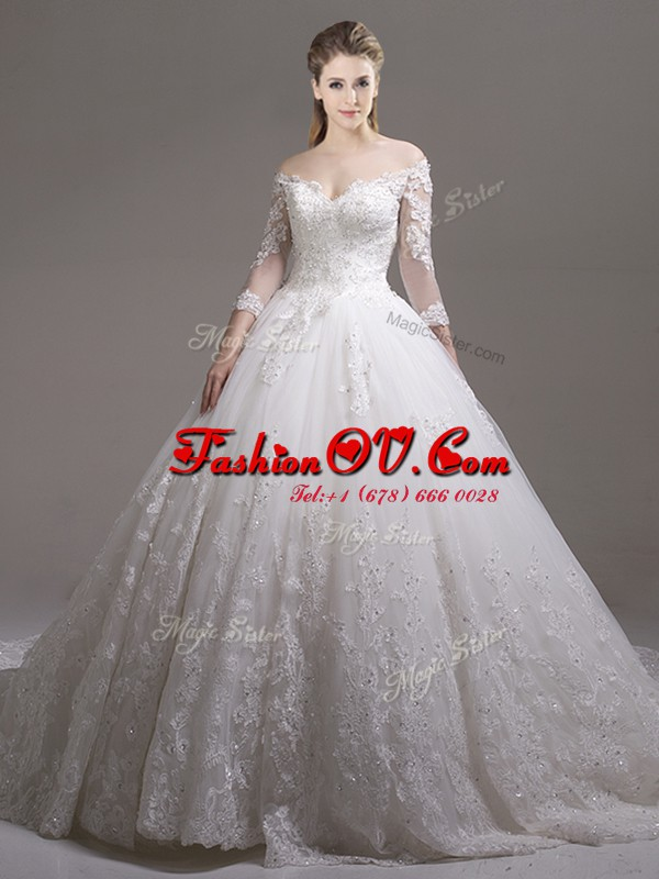 Colorful Off the Shoulder White Ball Gowns Lace and Appliques Bridal Gown Zipper Tulle Half Sleeves