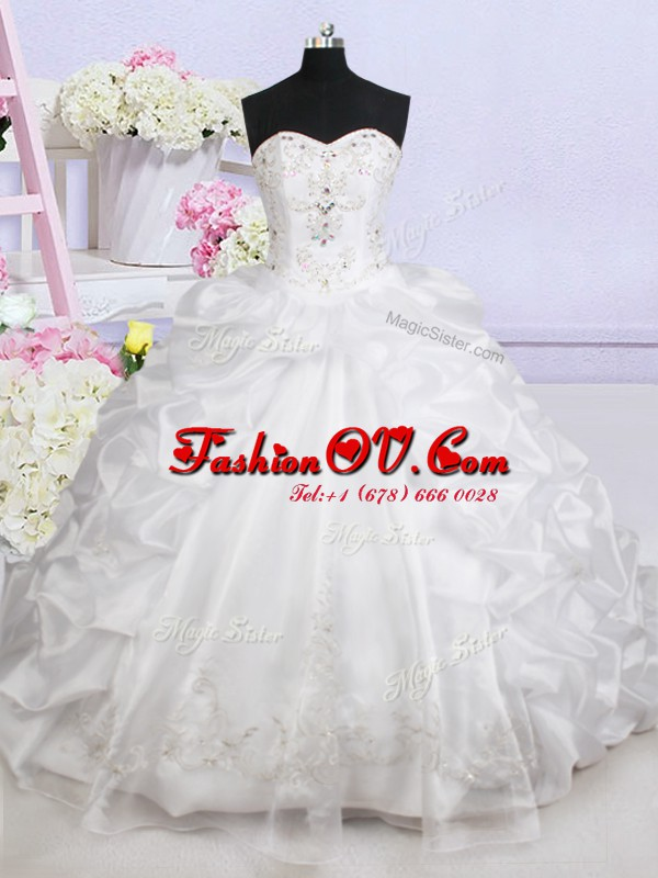 Fashionable Sleeveless Brush Train Beading and Appliques and Pick Ups Lace Up Wedding Gown