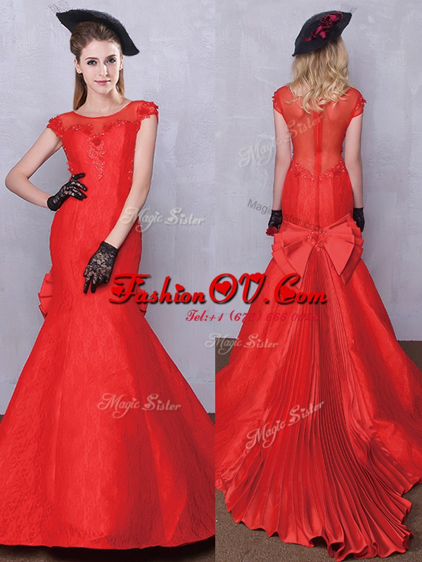 Fantastic Mermaid Scoop Short Sleeves Bridal Gown Brush Train Lace and Bowknot and Pleated Red Taffeta and Lace