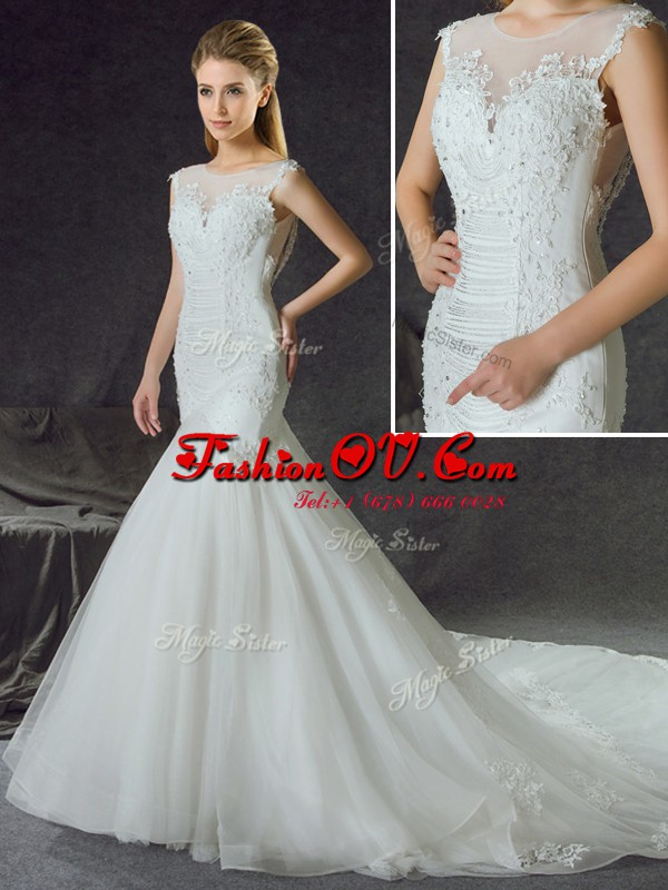 Vintage Mermaid Scoop Sleeveless Chapel Train Side Zipper Bridal Gown White Tulle