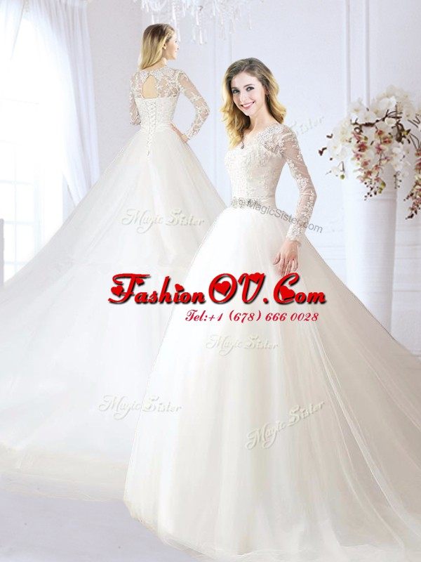 White Long Sleeves With Train Beading and Lace Lace Up Wedding Gown