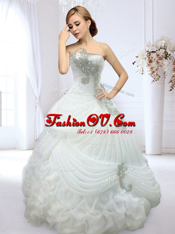 Fancy Pick Ups Floor Length White Wedding Gown Strapless Sleeveless Lace Up