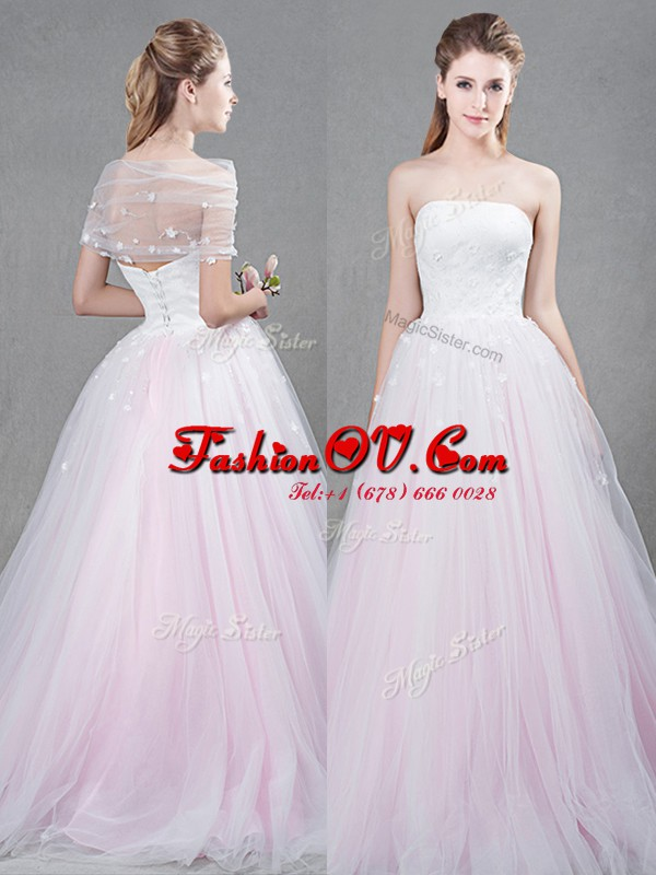 Pink Tulle Lace Up Strapless Sleeveless With Train Wedding Gown Brush Train Appliques
