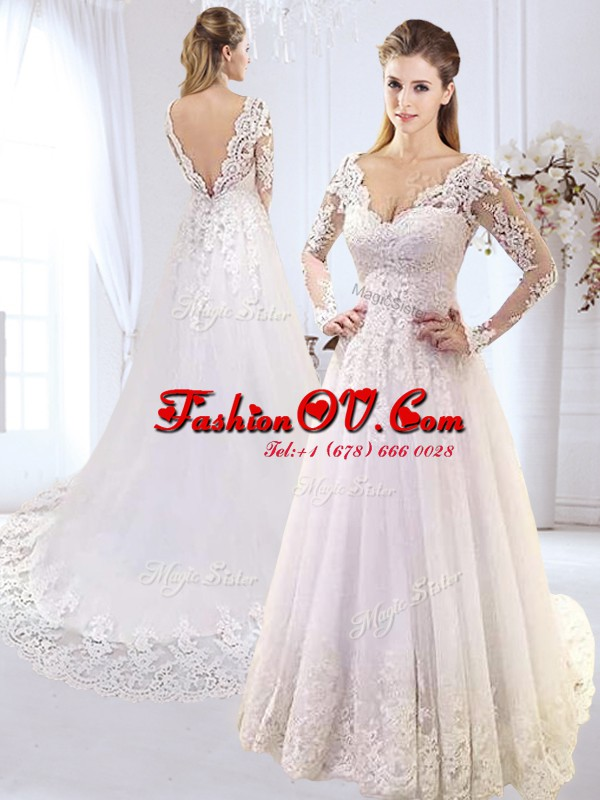 Enchanting Tulle V-neck Long Sleeves Brush Train Backless Lace and Appliques Wedding Gown in White