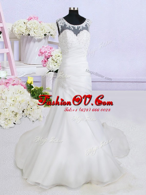 See Through Scoop Sleeveless Wedding Gowns With Brush Train Beading and Appliques White Organza