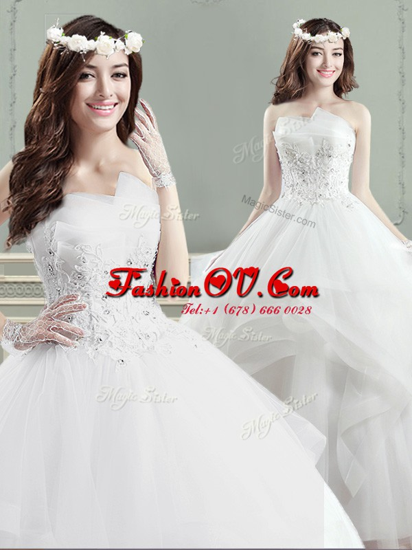 Charming Ball Gowns Wedding Gowns White Strapless Tulle Sleeveless Floor Length Lace Up
