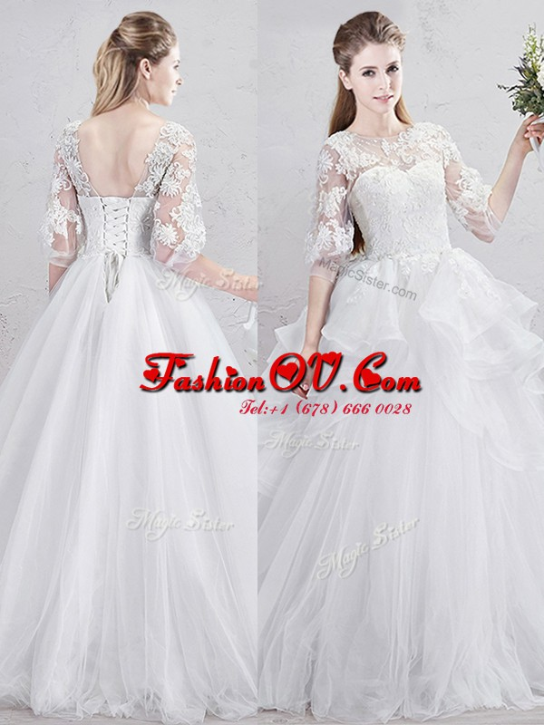 Cute Scoop Half Sleeves Tulle With Brush Train Lace Up Wedding Gown in White with Lace and Ruffles