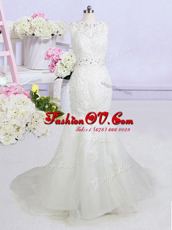 Custom Made Mermaid Sleeveless Brush Train Beading and Appliques Backless Wedding Dress