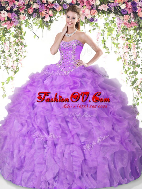 Classical Lilac Sweetheart Neckline Beading and Ruffles Quinceanera Gown Sleeveless Lace Up