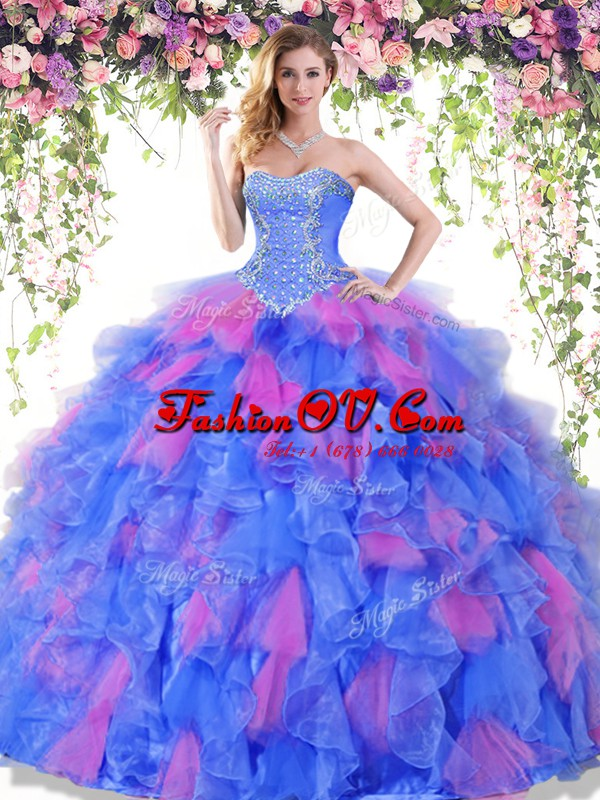 Glittering Multi-color Sleeveless Floor Length Beading and Ruffles Lace Up Quinceanera Gowns