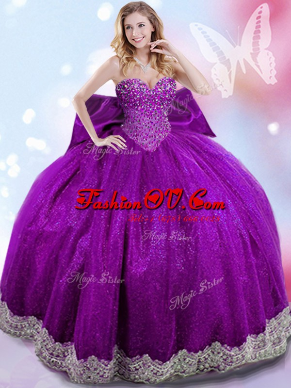 Eggplant Purple Sleeveless Floor Length Beading and Lace and Bowknot Lace Up Sweet 16 Dress