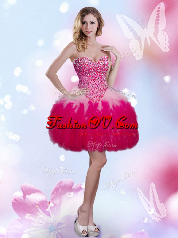 Glamorous Hot Pink Ball Gowns Beading and Ruffles Cocktail Dresses Lace Up Tulle Sleeveless Mini Length