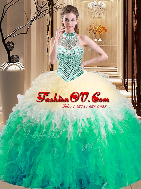 Halter Top Multi-color Lace Up 15th Birthday Dress Beading and Ruffles Sleeveless Floor Length