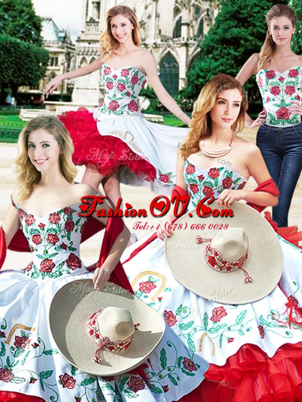 Four Piece Satin and Organza Sleeveless Floor Length Vestidos de Quinceanera and Embroidery and Ruffles
