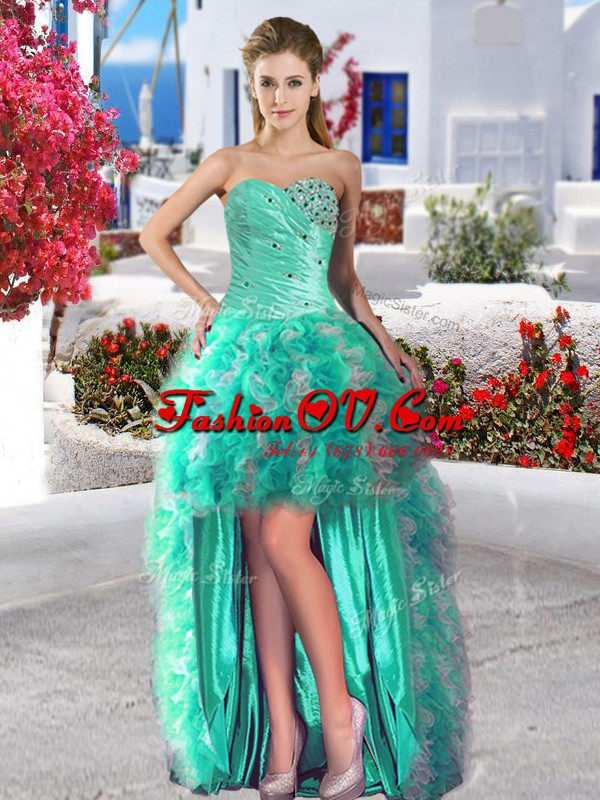 Luxury Turquoise Lace Up Prom Dress Beading and Ruffles Sleeveless High Low
