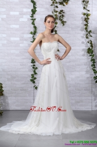 2015 Pretty Ruffled White Strapless Wedding Gowns with Brush Train