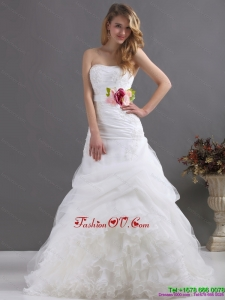 2015 Perfect Ruffles Strapless White Wedding Dresses with Hand Made Flower
