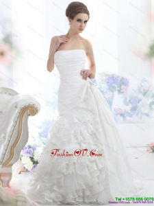 2015 Pretty White Strapless Bridal Gowns with Ruffled Layers and Brush Train
