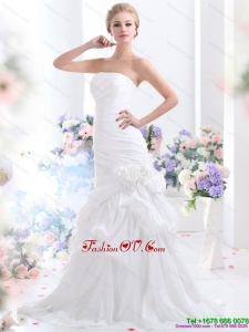 2015 Ruffles Strapless White Wedding Dresses with Hand Made Flower