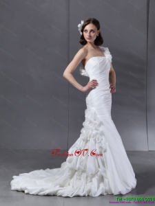 Ruching One Shoulder White Wedding Dresses with Hand Made Flower