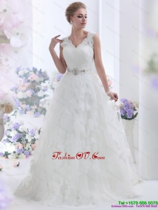 Unique Brush Train White Wedding Dresses with Lace and Beading for 2015