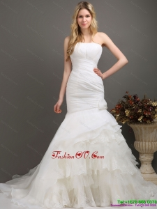 2015 Decent Strapless Wedding Dress with Ruching and Ruffles
